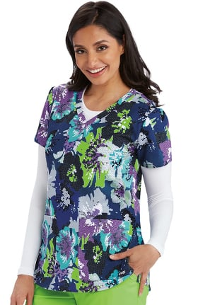 Grey's Anatomy Classic Women's V-Neck Mosaic Floral Print Scrub Top