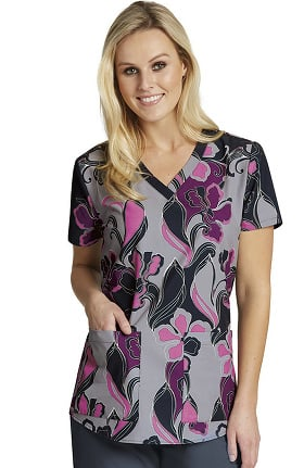 Clearance Grey's Anatomy™ Classic Women's V-Neck Floral Print Scrub Top