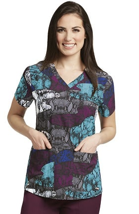 Grey's Anatomy™ Classic Women's V-Neck Animal Print Scrub Top