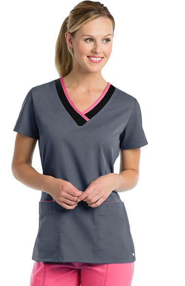 Active by Grey's Anatomy Women's Laser Cut V-Neck Solid Scrub Top