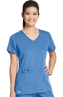 Active by Grey's Anatomy Women's Side Panel V-Neck Solid Scrub Top