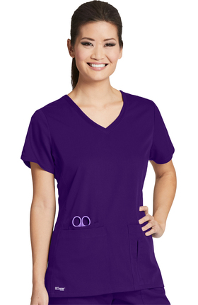 Clearance Grey's Anatomy Classic Women's Side Panel V-Neck Solid Scrub Top