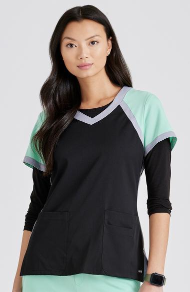 b08a40377de Active by Grey's Anatomy™ Women's Tri-Color V-Neck Solid Scrub Top