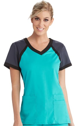 Active by Grey's Anatomy Women's Tri-Color V-Neck Solid Scrub Top