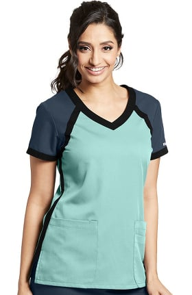Grey's Anatomy Classic Women's Tri-Color V-Neck Solid Scrub Top