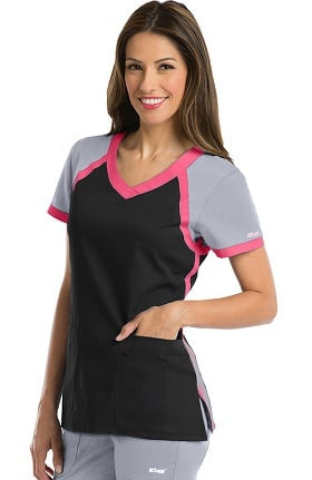 Clearance Active by Grey's Anatomy™ Women's Tri-Color V-Neck Solid Scrub Top