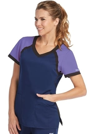 Clearance Active by Grey's Anatomy Women's Tri-Color V-Neck Solid Scrub Top