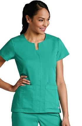Grey's Anatomy™ Classic Women's Notch Neck Front Panel Solid Scrub Top