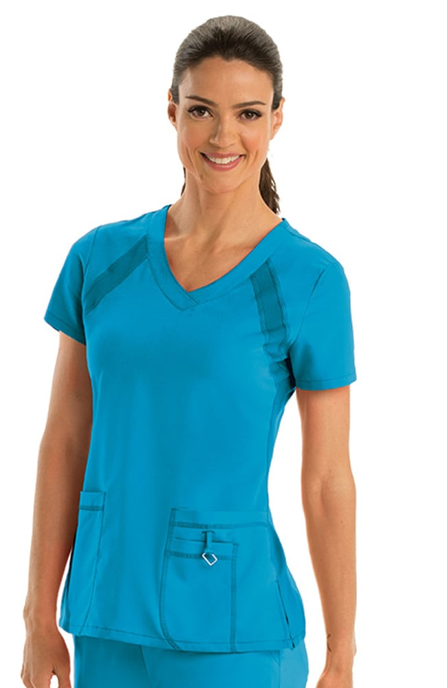 Active By Greys Anatomy Womens V Neck Solid Scrub Top Allheart