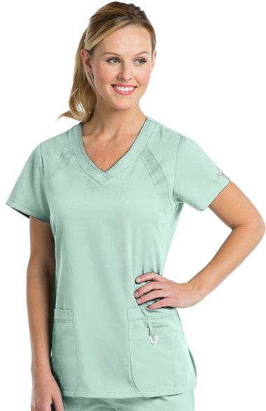 Active by Grey's Anatomy Women's V-Neck Solid Scrub Top Mist