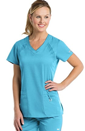 Clearance Active by Grey's Anatomy Women's V-Neck Solid Scrub Top