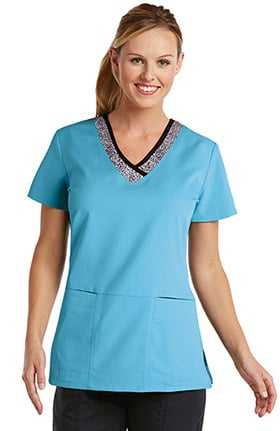 Clearance Active by Grey's Anatomy™ Women's Inset V-Neck Solid Scrub Top
