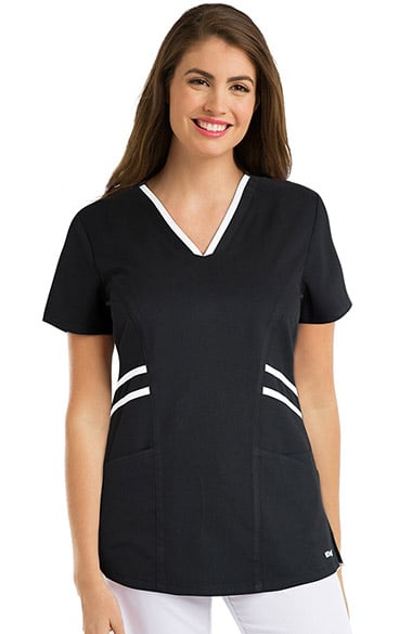 Active by Grey's Anatomy Women's Contrast V-Neck Solid Scrub Top