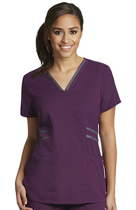 Clearance Active by Grey's Anatomy™ Women's Contrast V-Neck Solid Scrub Top