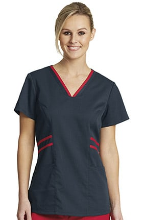 Clearance Grey's Anatomy Classic Women's Contrast V-Neck Solid Scrub Top