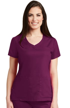 Grey's Anatomy Classic Women's Curved V-Neck Solid Scrub Top