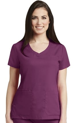 Grey's Anatomy™ Classic Women's Curved V-Neck Solid Scrub Top