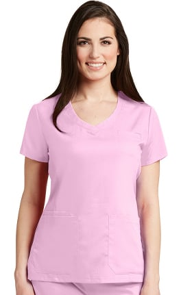 Clearance Grey's Anatomy Classic Women's Curved V-Neck Solid Scrub Top