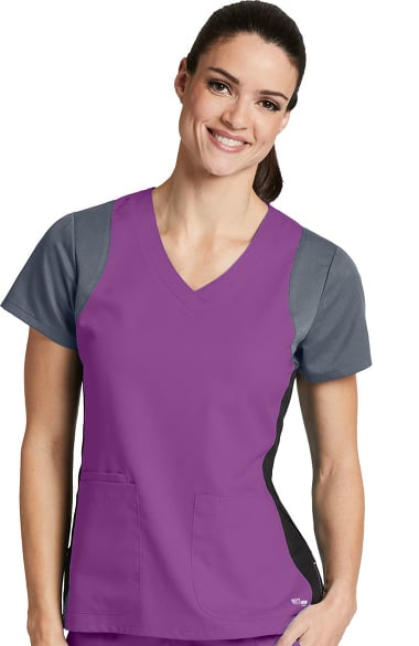 Active By Greys Anatomy Womens V Neck Colorblock Racerback Solid