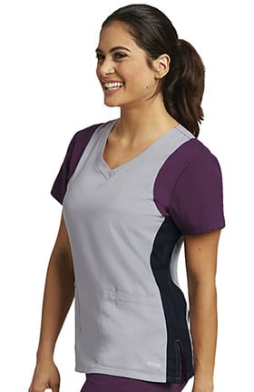 Active by Grey's Anatomy™ Women's V-Neck Colorblock Racerback Solid Scrub Top