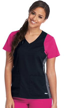 Clearance Active by Grey's Anatomy™ Women's V-Neck Colorblock Racerback Solid Scrub Top