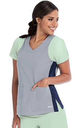 Clearance Grey's Anatomy Classic Women's V-Neck Colorblock Racerback Solid Scrub Top