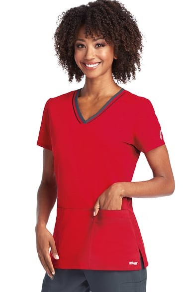 Active by Grey's Anatomy Women's V-Neck Contrast Trim Solid Scrub Top