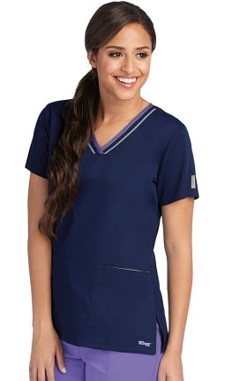 Clearance Grey's Anatomy Classic Women's V-Neck Contrast Trim Solid Scrub Top