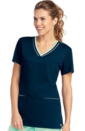 Clearance Active by Grey's Anatomy™ Women's V-Neck Contrast Trim Solid Scrub Top