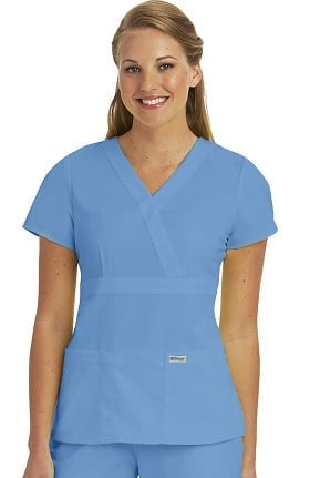 Grey's Anatomy™ Women's Mock Wrap Solid Scrub Top
