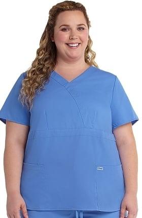 Grey's Anatomy™ Classic Women's Mock Wrap Solid Scrub Top