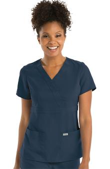 Grey's Anatomy Classic Women's Mock Wrap Solid Scrub Top