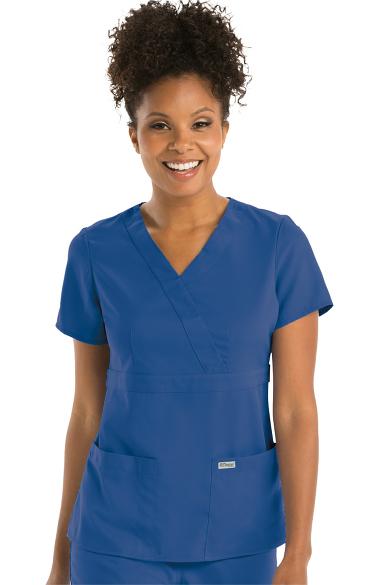 grey s anatomy women s mock wrap solid scrub top