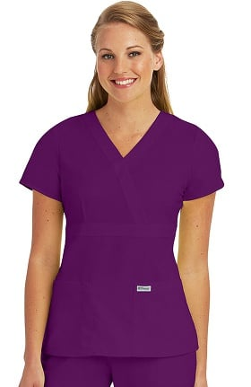 Clearance Grey's Anatomy™ Women's Mock Wrap Solid Scrub Top