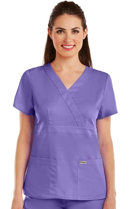 Clearance Grey's Anatomy Classic Women's Mock Wrap Solid Scrub Top