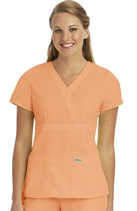 Clearance Grey's Anatomy™ Classic Women's Mock Wrap Solid Scrub Top