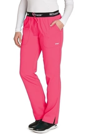 Active by Grey's Anatomy Women's Logo Elastic Drawstring Waist Scrub Pant