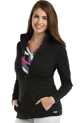 Grey's Anatomy™ Classic Women's Mock Neck Zip Front Solid Scrub Jacket