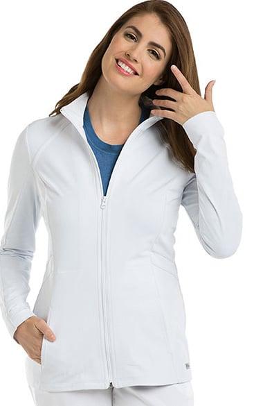 Grey's Anatomy Classic Women's Mock Neck Zip Front Solid Scrub Jacket