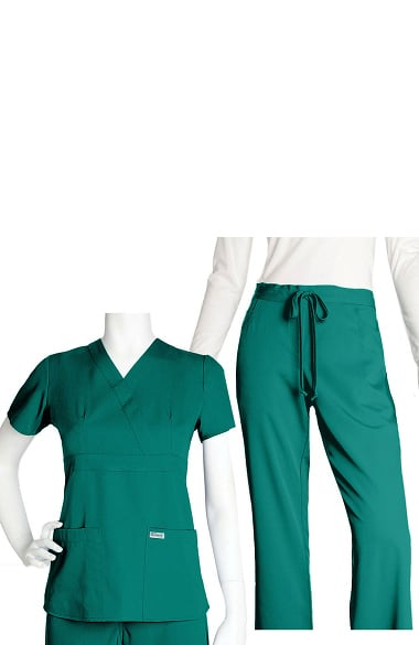 Grey's Anatomy Classic Women's Mock Wrap and 5-Pocket Pant Set