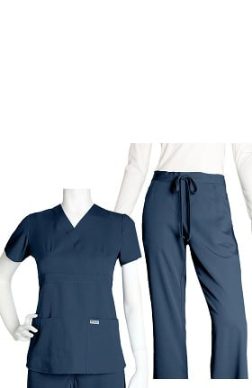 Grey's Anatomy™ Classic Women's Mock Wrap and 5-Pocket Pant Set