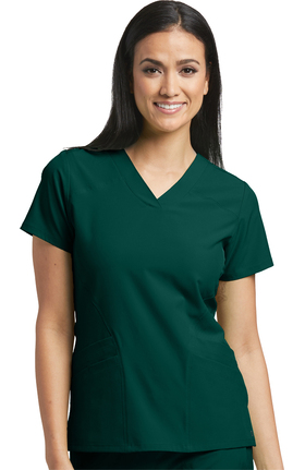 Barco One Women's V-Neck Perforated Side Panel Solid Scrub Top