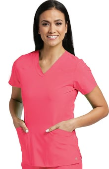 Barco One™ Women's V-Neck Perforated Side Panel Solid Scrub Top