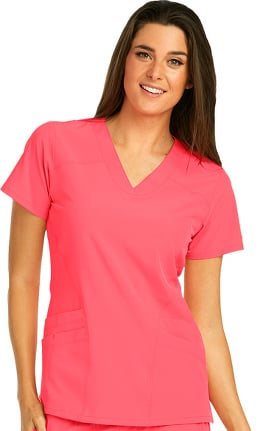 Clearance Barco One Women's V-Neck Perforated Side Panel Solid Scrub Top