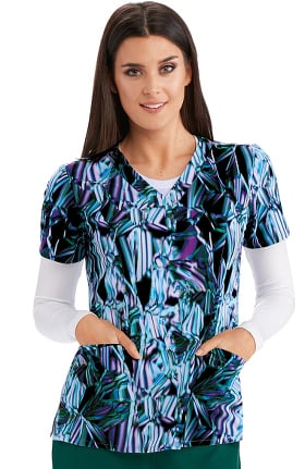 Barco One Women's V-Neck Light Beams Print Scrub Top