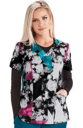 Barco One Women's V-Neck Noir Bouquet Print Scrub Top