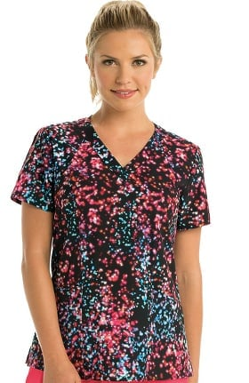 Clearance Barco One Women's V-Neck Abstract Print Scrub Top