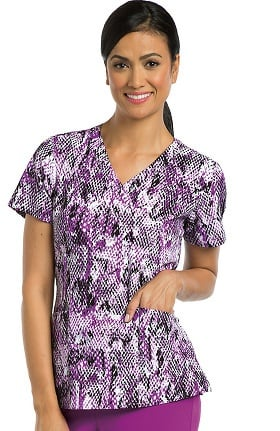 Clearance Barco One™ Women's V-Neck Abstract Print Scrub Top
