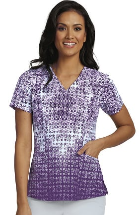 Clearance Barco One™ Women's V-Neck Geometric Print Scrub Top