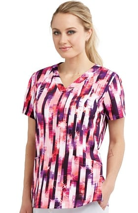 Barco One Women's Mirrored Stripe Print Scrub Top